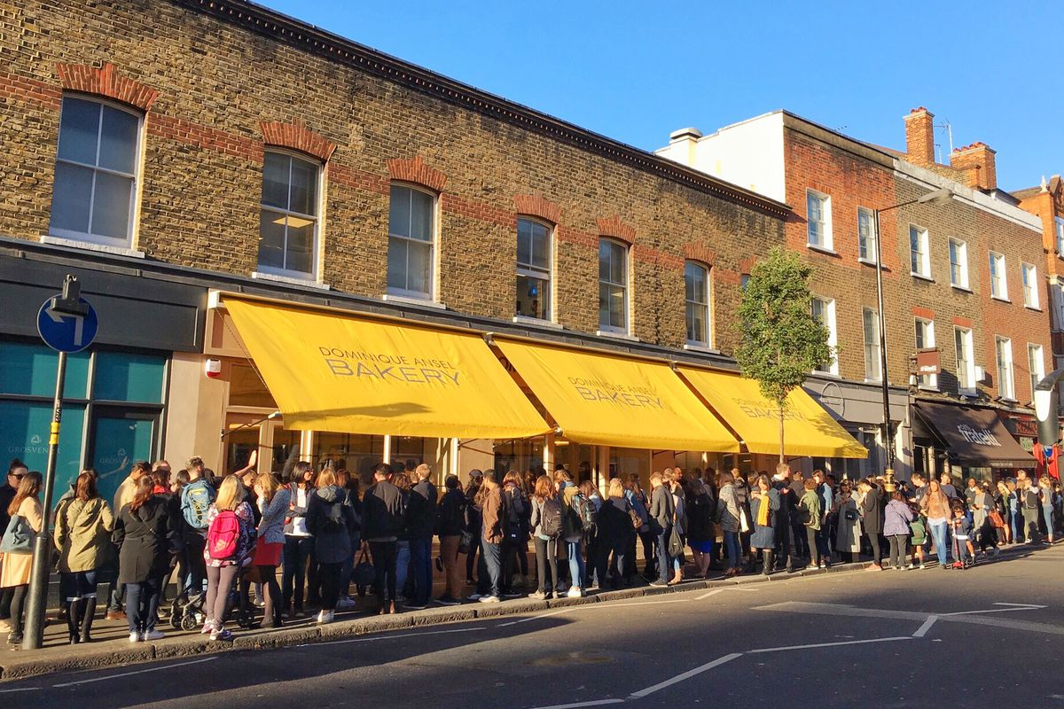 A line of 200 people outside Dominique Ansel Bakery in London on opening day