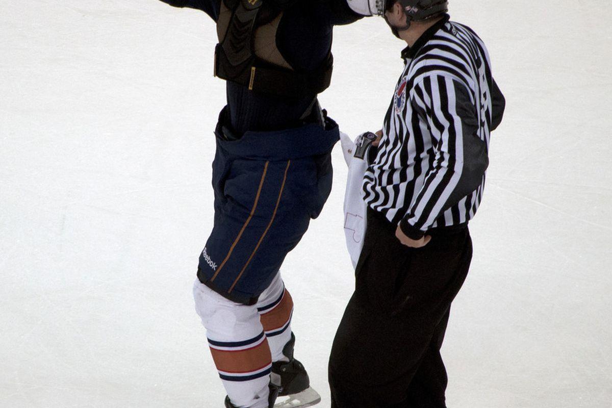 """Tulupov celebrates! <a href=""""http://okcbaronshockeyblog.blogspot.com/"""" target=""""new"""">Photo by Candace Riley</a> © 2011"""