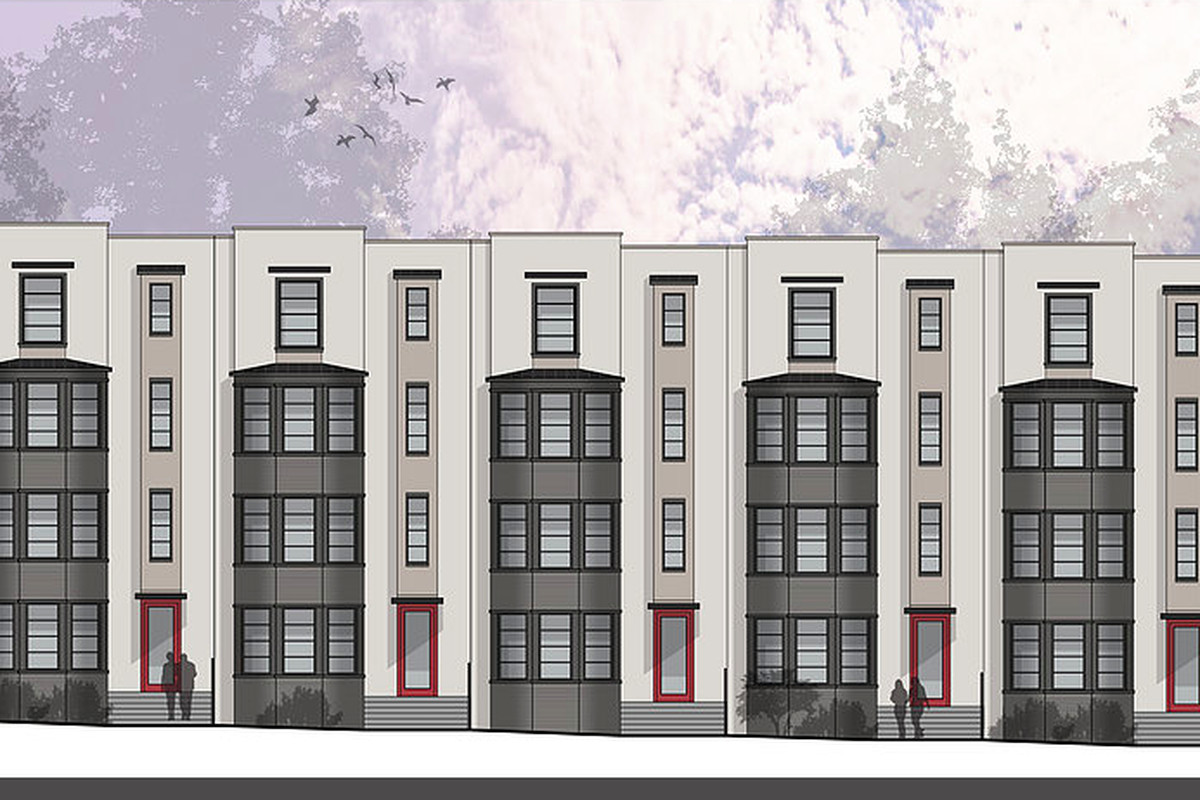 A rendering of townhomes under construction now in East Atlanta Village.