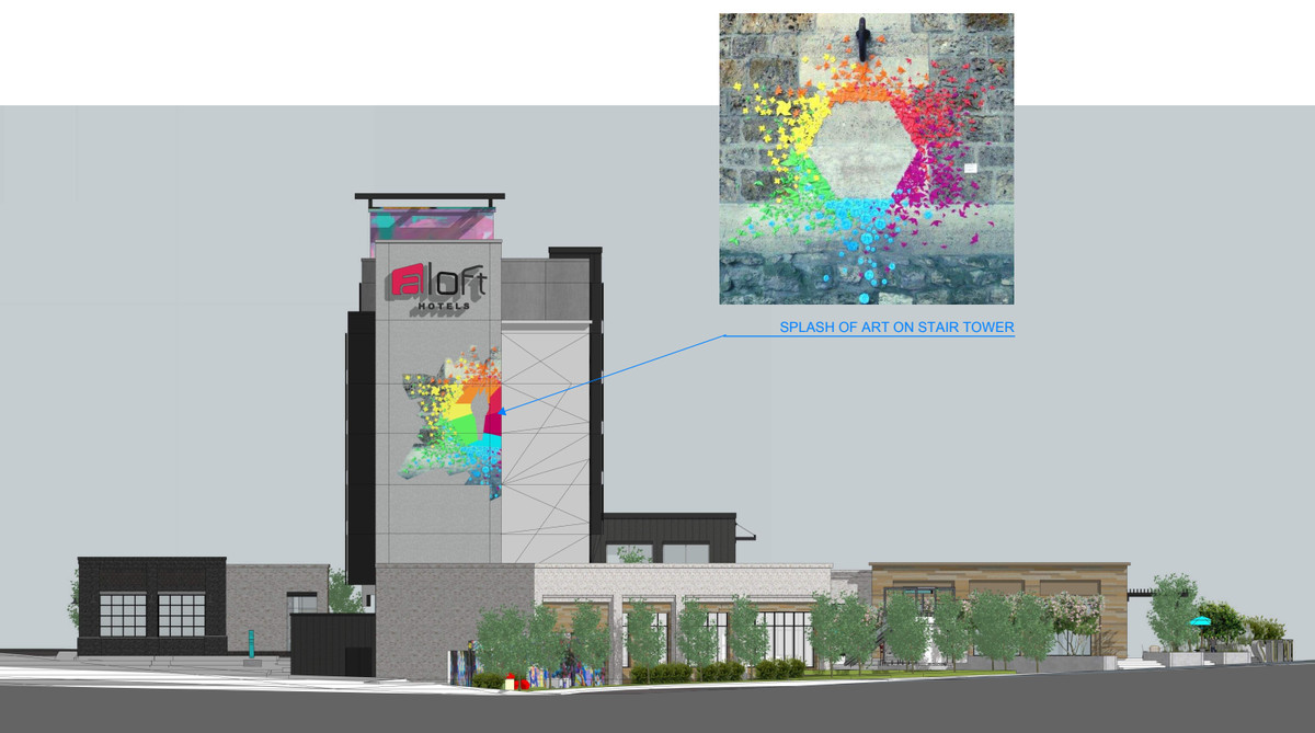 """An elevation shows how one side of the hotel would feature a """"splash of art on stair tower."""""""