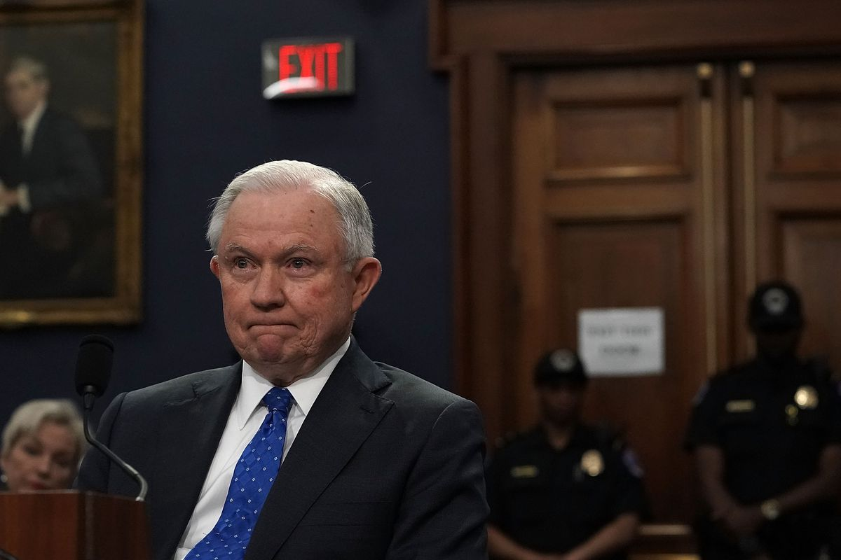 Attorney General Jeff Sessions waits for the beginning of a hearing before the Commerce, Justice, Science, and Related Agencies Subcommittee of the House Appropriations Committee April 26, 2018 on Capitol Hill in Washington, DC.