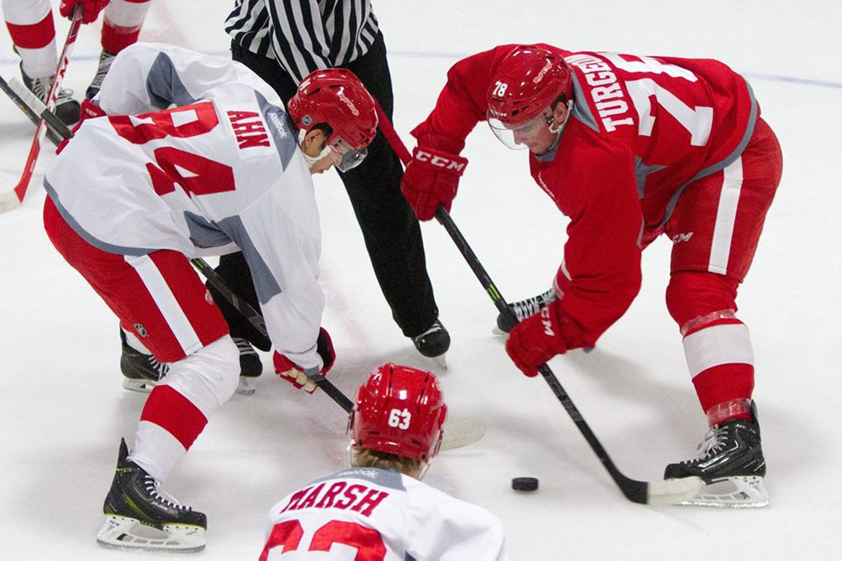 Jin-Hui Ahn takes a facoff against Dominic Turgeon in the Red Wings 2015 Development Camp.