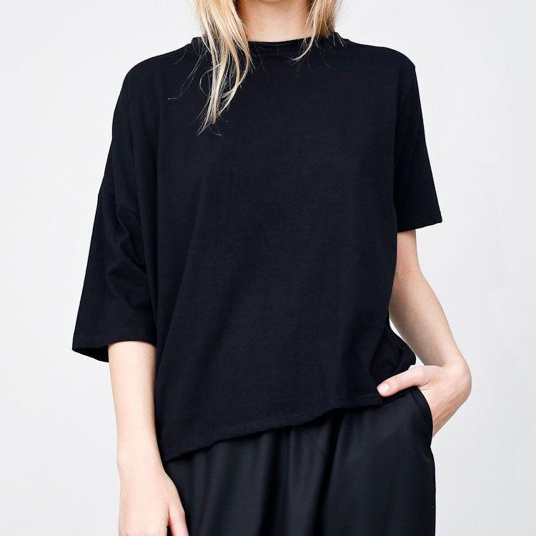 Black asymmetric T-shirt