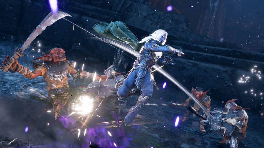 Drizzt spins around, attacking enemies in Dungeons & Dragons: Dark Alliance