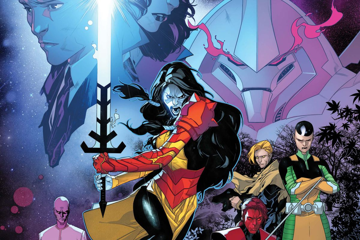 The mutant soldier Rasputin, wielding a massive energy sword, front and center on the cover of Powers of X #1, Marvel Comics (2019).