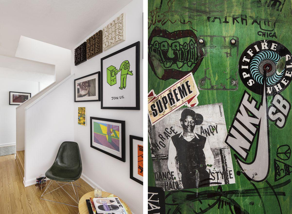 Colorful, skateboard-influenced artwork in Leyva's home.