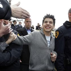 """""""American Idol's"""" David Archuleta leaves The Gateway after signing autographs in Salt Lake City Friday."""