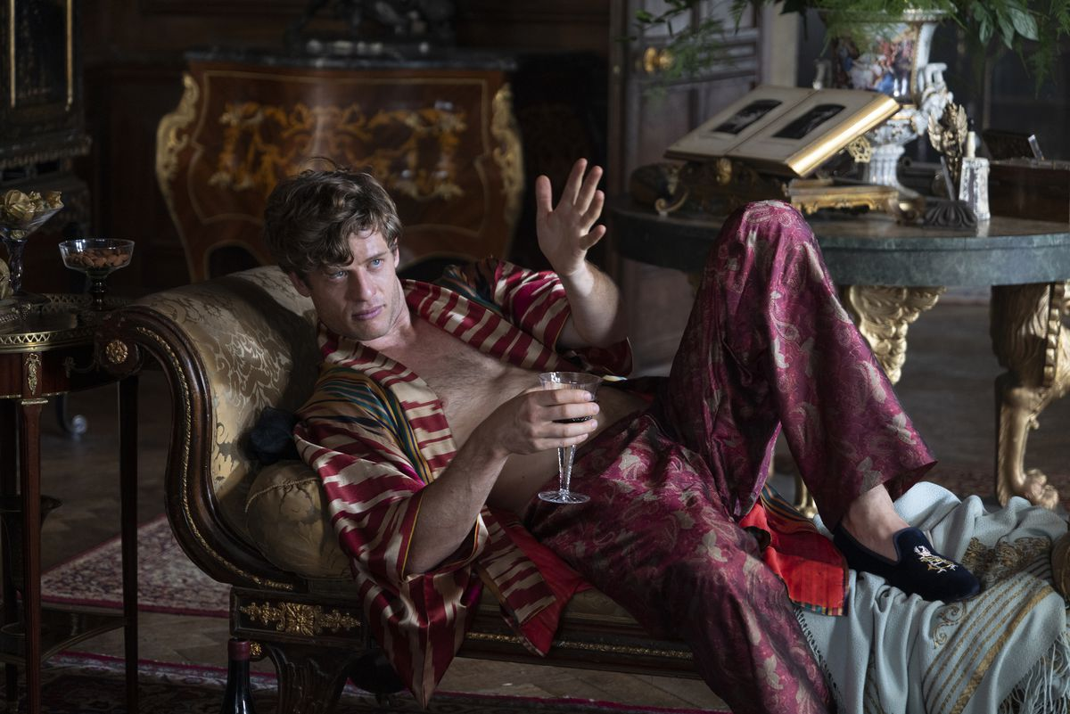 James Norton as Hugh lounging in silks in The Nevers.