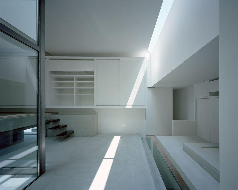 Living room with beam of sunlight shining through