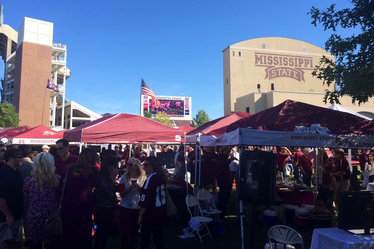 Tailgaters in The Junction prior to Mississippi State's kickoff against Texas A&M on October 4.