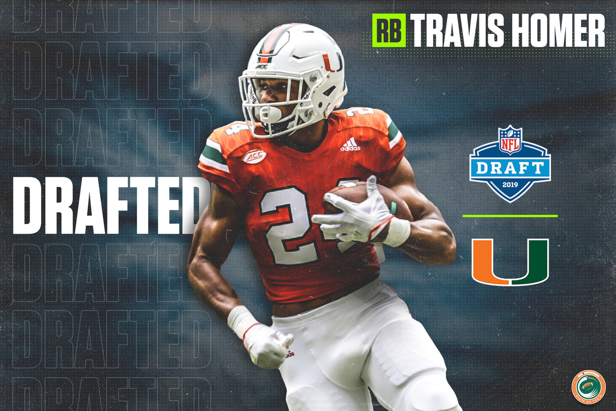 1849fd56 Miami Hurricanes RB Travis Homer Selected by the Seattle Seahawks in the 2019  NFL Draft