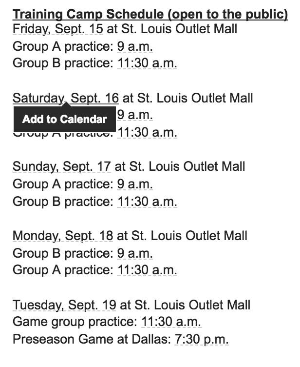 2017 St. Louis Blues Training Camp Schedule