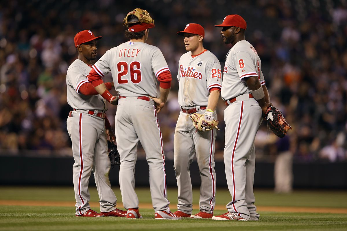 I'm not sure why Utley's glove is on his head here, but it's the best thing ever.