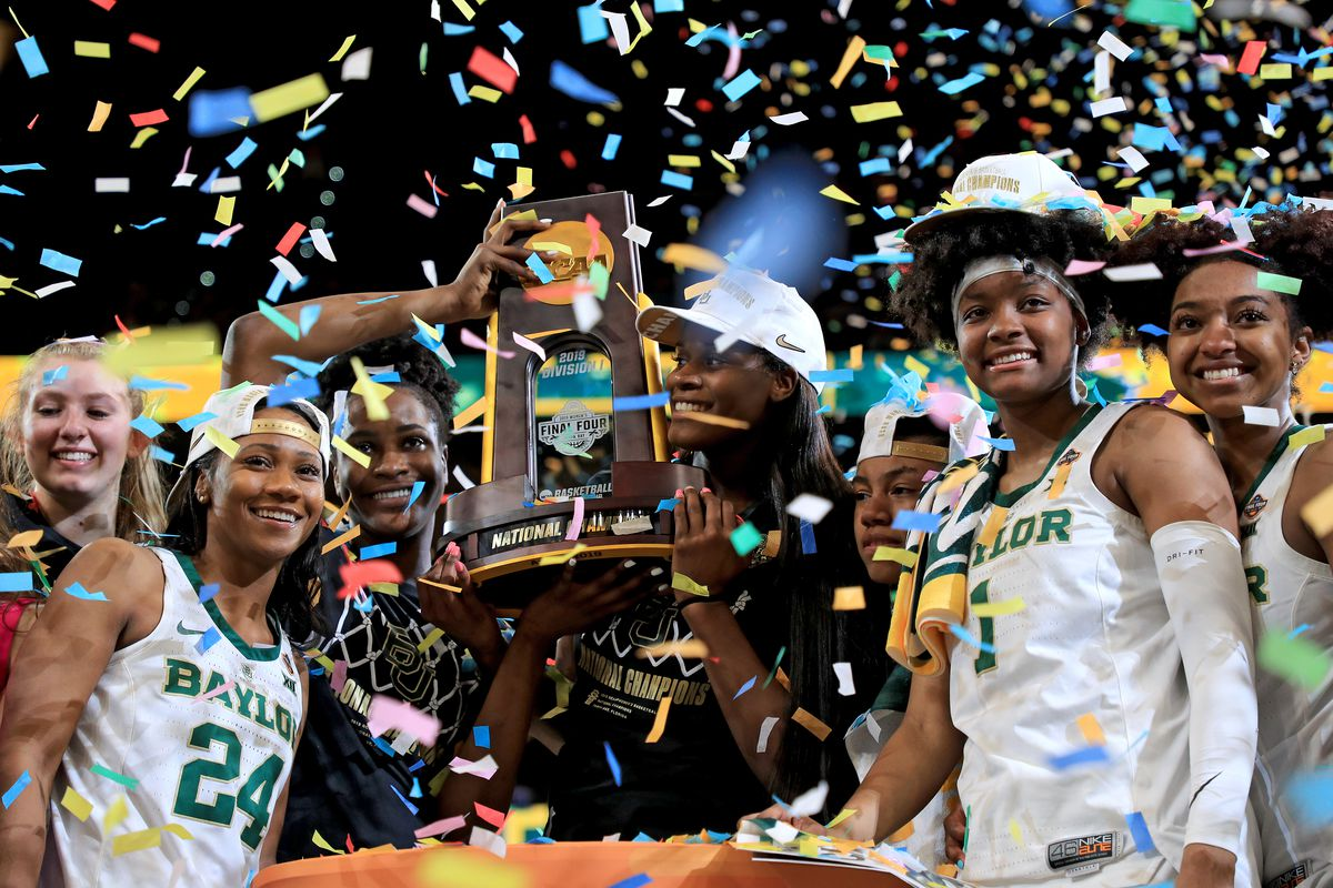 Chloe Jackson, Kalani Brown, NaLyssa Smith and DiDi Richards of Baylor Lady Bears celebrate with the NCAA trophy after their teams 82-81 win over the Notre Dame Fighting Irish to win the championship game of the 2019 NCAA Women's Final Four at Amalie Arena on April 07, 2019 in Tampa, Florida.