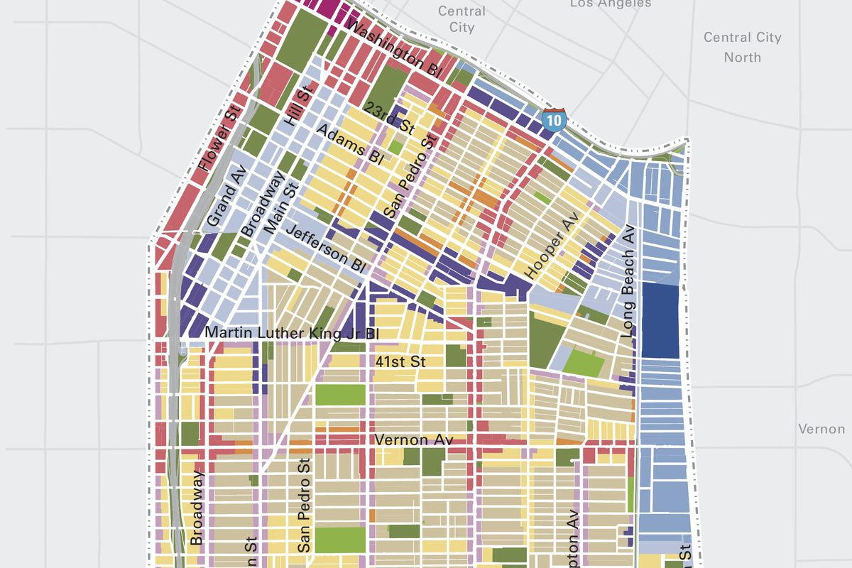 Map of Southeast LA showing zoning changes