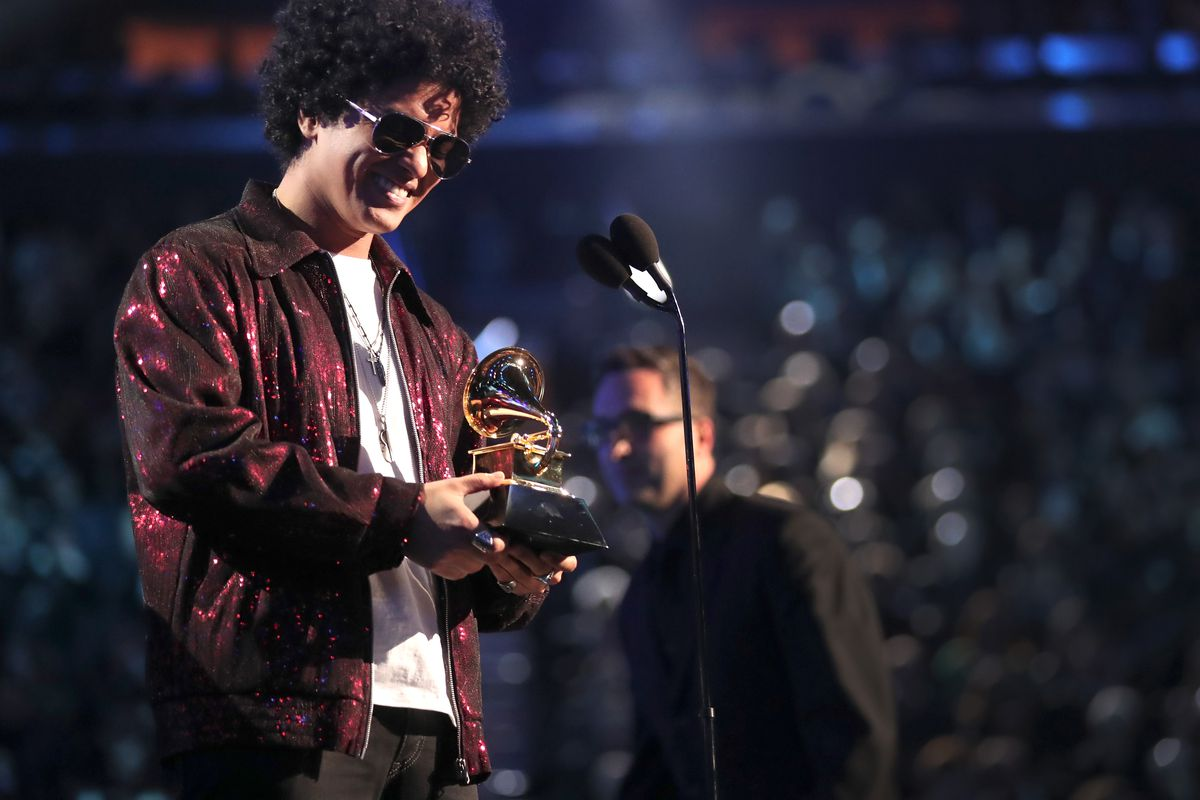 Bruno Mars at the 60th Annual GRAMMY Awards