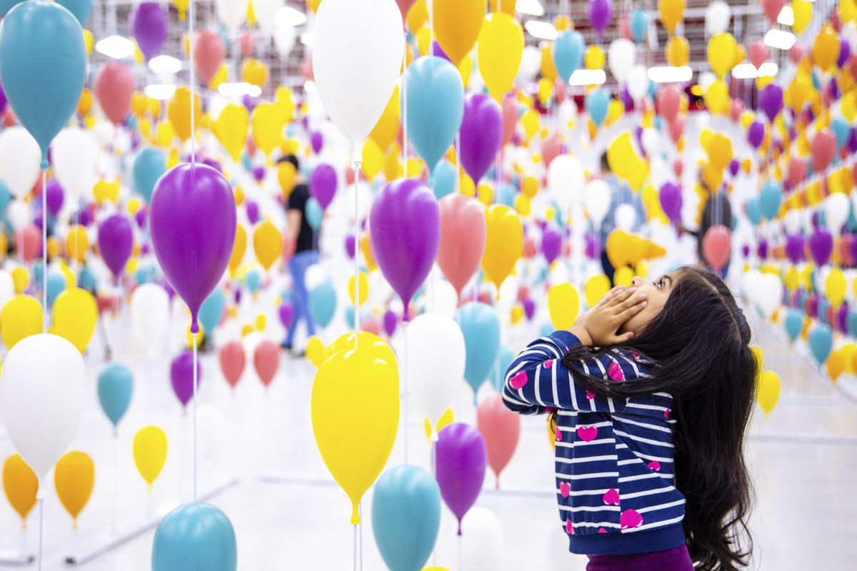 """The centerpiece of """"The Dr. Seuss Experience"""" is an interconnected maze comprised of hundreds of balloons (inspired by """"Oh the Places You'll Go!)."""
