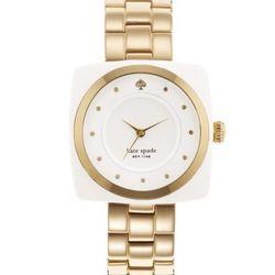 "Parsons Bracelet in gold/white, <a href=""http://www.katespade.com/parsons-bracelet/1YRU0058,default,pd.html?dwvar_1YRU0058_color=158&start=43&cgid=watches"">$195</a>."