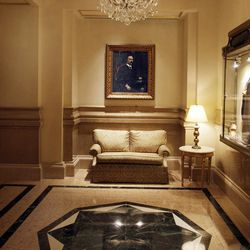 A portrait of John Jacob Astor hangs in the lobby of New York's St. Regis Hotel,  Wednesday, March 14, 2012. A century after the Titanic sank, the legacy of the ship's wealthiest and most famous passenger, John Jacob Astor, quietly lives on at the luxury hotel he built in New York City.