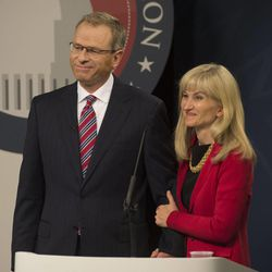 Doug Owens stands with his wife, Cynthia Smart, after debating Mia Love at the Dolores Doré Eccles Broadcast Center on the University of Utah campus in Salt Lake City on Tuesday, Oct. 14, 2014.