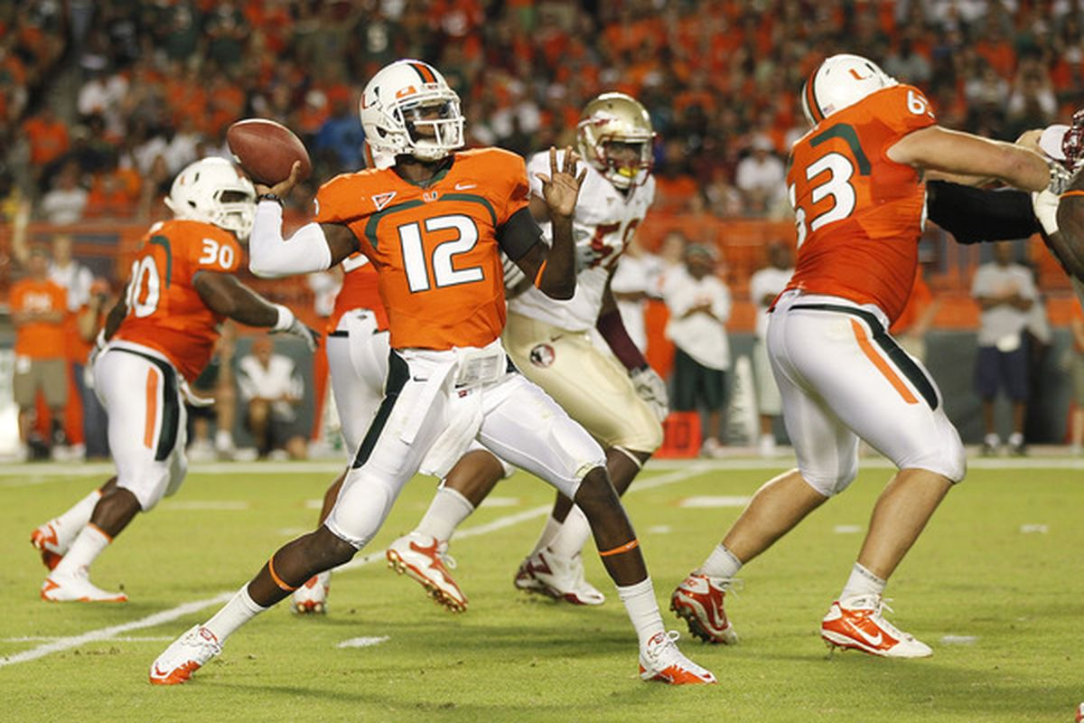 University of Miami quarterback Jacory Harris is one of 21 Florida college prospects invited to the NFL Scouting Combine.