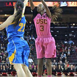 Desiree Bradley knocks down a 3-pointer.