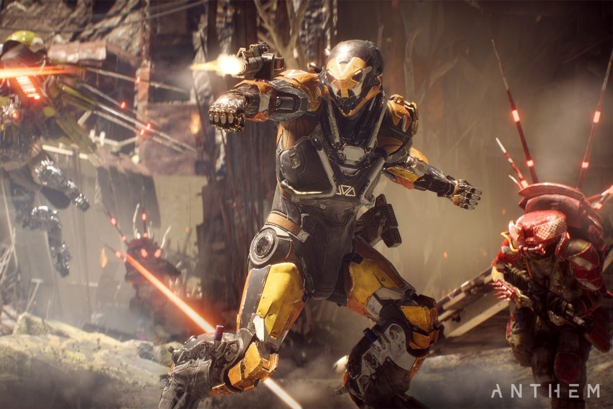 A character in a Javelin suit shoots at enemies in a screenshot from Anthem
