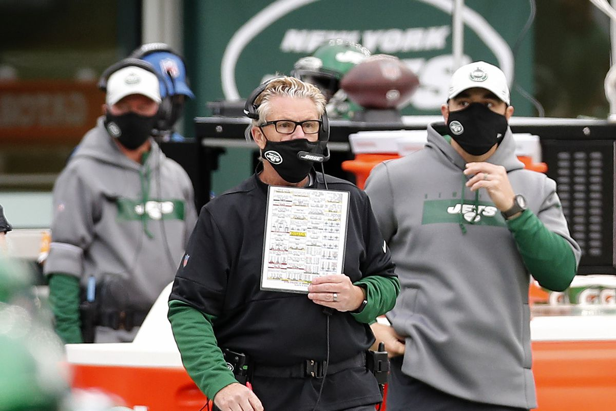 Defensive coordinator Gregg Williams of the New York Jets in action against the Buffalo Bills at MetLife Stadium on October 25, 2020 in East Rutherford, New Jersey.