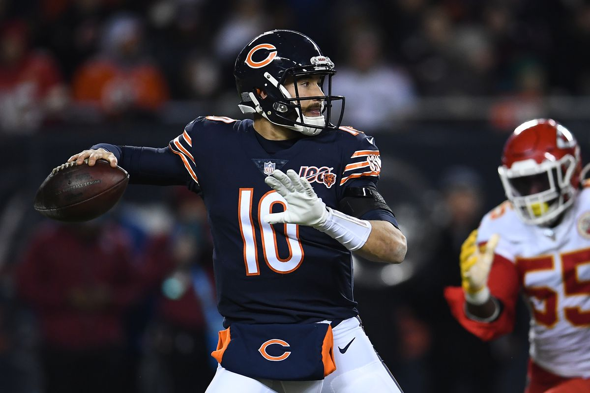 Quarterback Mitchell Trubisky #10 of the Chicago Bears looks to pass against the Kansas City Chiefs in the third quarter of the game at Soldier Field on December 22, 2019 in Chicago, Illinois.