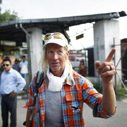 American Glen Plake, survivor of a weekend avalanche at Mount Manaslu in the Himalayas arrives at the Tribhuwan domestic airport  in Katmandu, Nepal, Wednesday, Sept. 26, 2012. Rescuers have so far brought down the bodies of eight victims, four French, one each from Germany, Italy and Spain, and a Nepali guide. The climbers killed were part of a crush of mountaineers who came to the peak in Nepal because of heightened tensions between Chinese authorities and Tibetans.
