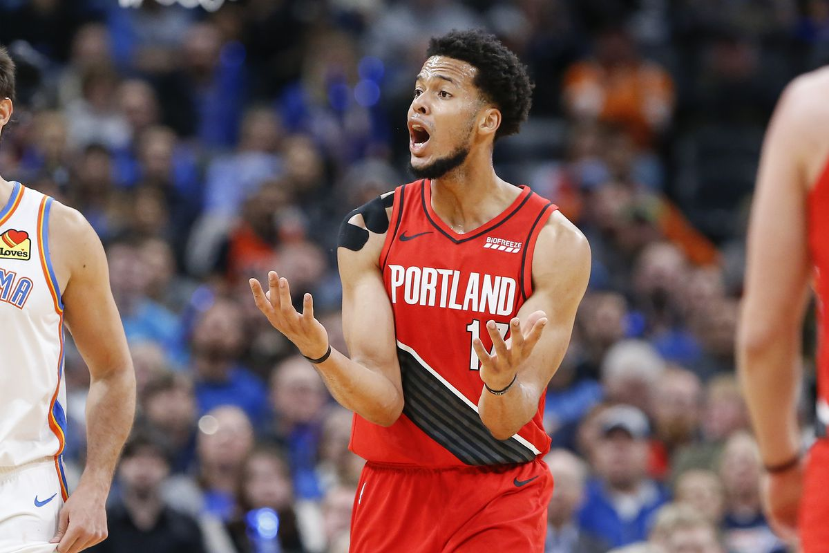 Portland Trail Blazers forward Skal Labissiere reacts to a call against him after a play during the second quarter against the Oklahoma City Thunder at Chesapeake Energy Arena.