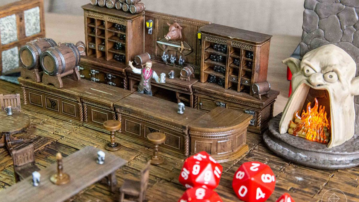 The corner bar at The Yawning Portal, complete with proprietor Durnan and a light-up hearth.