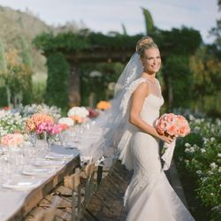 """""""My wedding dress is a bohemian lace dress designed by <b>Marchesa</b>. I wanted it to feel magical and ethereal without feeling overdone or overworked. I only had two fittings with Marchesa designers <b>Georgina Chapman</b> and <b>Keren Craig</b> and cou"""