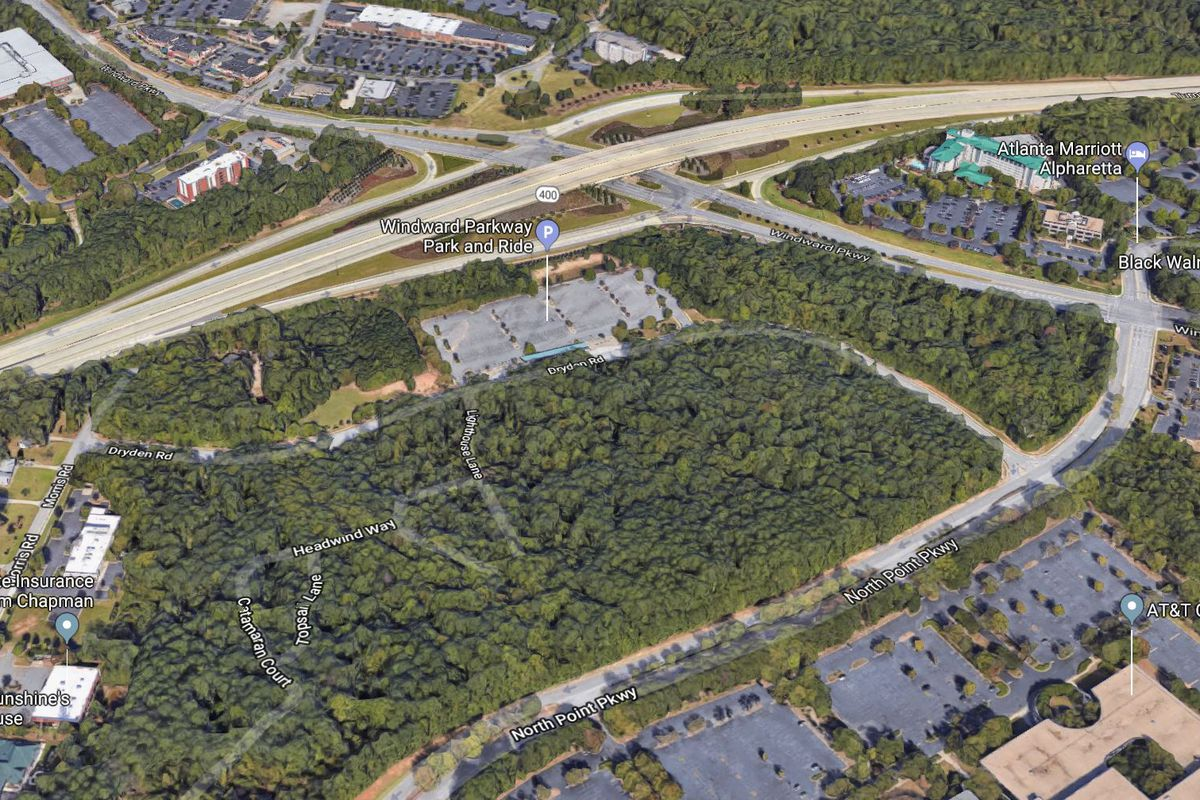 An aerial view of the 48-acre tract, with GA 400 running to the north.