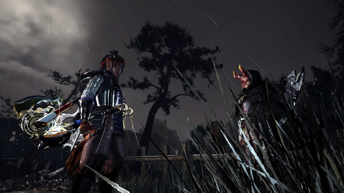 Nioh 2 protagonist faces another warrior in the darkness