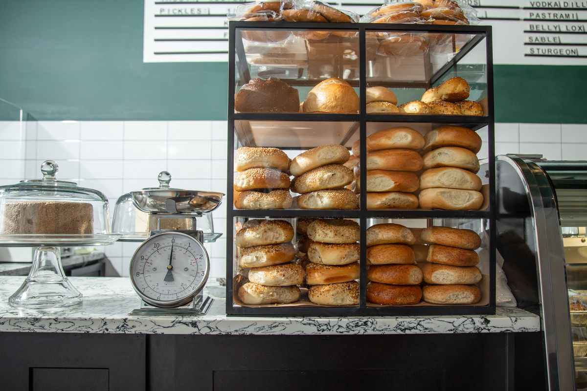 A case of bagels on the counter at Biederman's