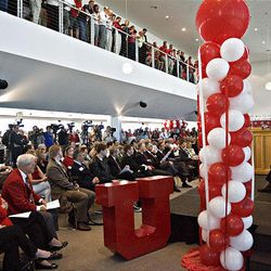 University of Utah President Michael Young speaks at a press conference announcing the university's acceptance of the invitation to join the Pac-10 Athletic Conference at the Rice Eccles Stadium on the campus of the University of Utah in Salt Lake City Thursday.