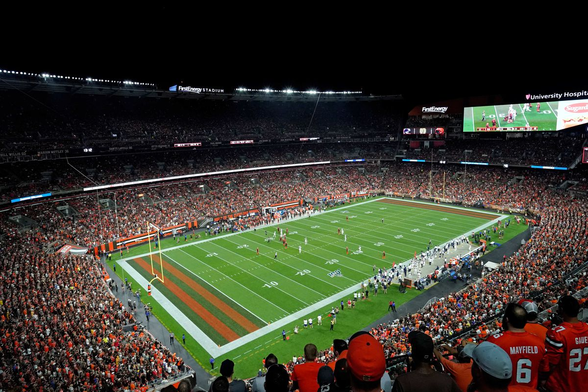 A general view of FirstEnergy Stadium before a game between the Los Angeles Rams and the Cleveland Browns.