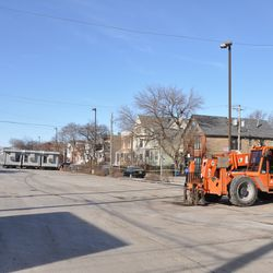 Blue Lot cleared of construction equipment and supplies -