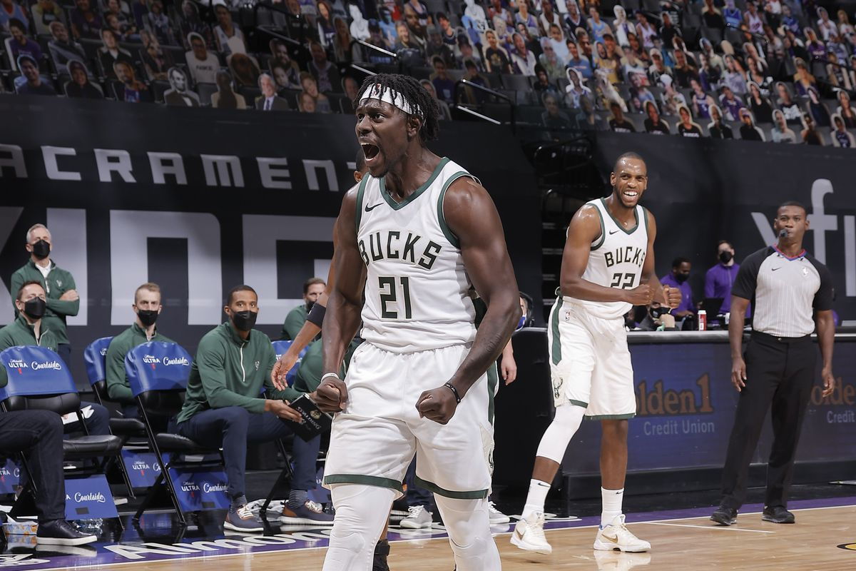 Jrue Holiday #21 of the Milwaukee Bucks reacts to a play during the game against the Sacramento Kings on April 3, 2021 at Golden 1 Center in Sacramento, California.