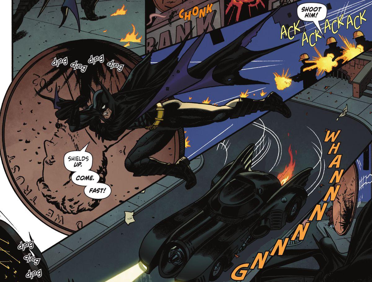 Batman runs alongside a giant penny deflecting gunfire in Batman '89 #1 (2021).