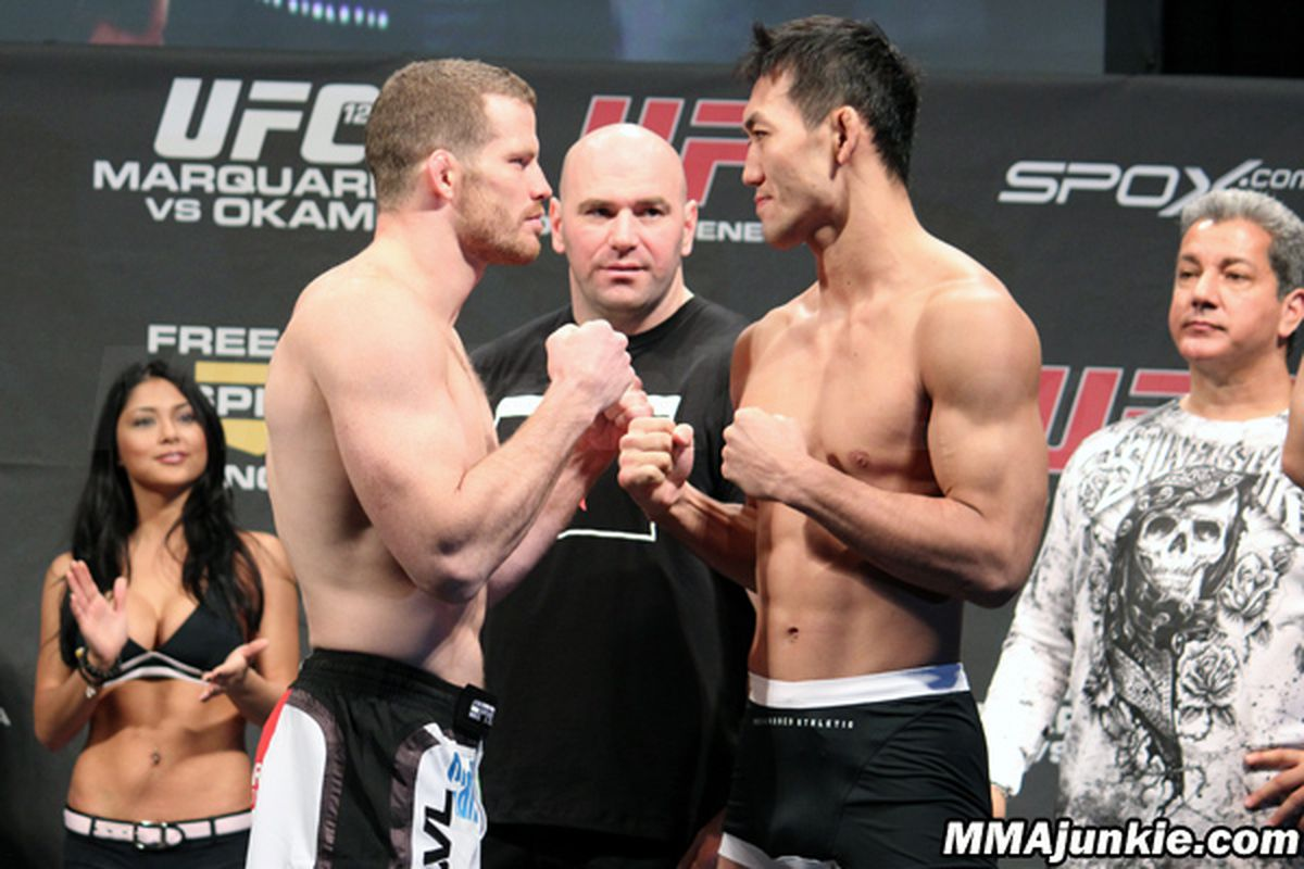 """Nate Marquardt and Yushin Okami will meet for a middleweight title shot in the main event of UFC 122. Photo via <a href=""""http://mmajunkie.com/"""">MMAJunkie.com</a>"""