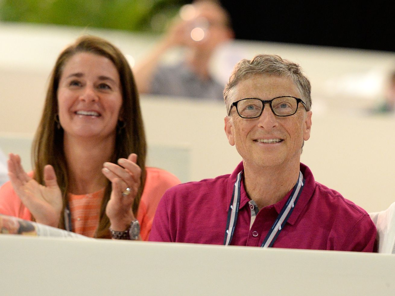 Bill and Melinda Gates watch their daughter Jennifer perform during The Hollywood Reporter Trophy class at Longines Los Angeles Masters at Los Angeles Convention Center on September 27, 2014 in Los Angeles, California.
