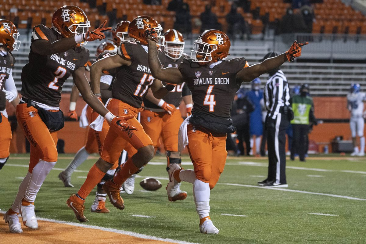 Bowling Green Falcons Running Back Terion Stewart reacts to scoring a touchdown during the second half of the College Football game between the Buffalo Bulls and the Bowling Green Falcons on November 17, 2020, at Doyt Perry Stadium in Bowling Green, OH.
