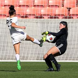 Murray's Kyah Karr has her shot on goal blocked by Olympus' keeper Callie Droitsch during 5A state semifinal action at Rio Tinto Stadium in Sandy on Tuesday, Oct. 20, 2020. Olympus won 2-1 to advance to the championship game.