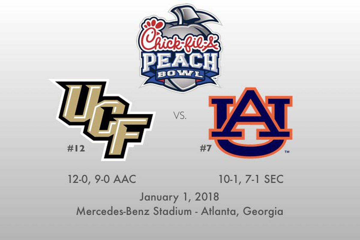 UCF faces Auburn at the 2018 Chick-fil-a Peach Bowl on January 1, 2018.