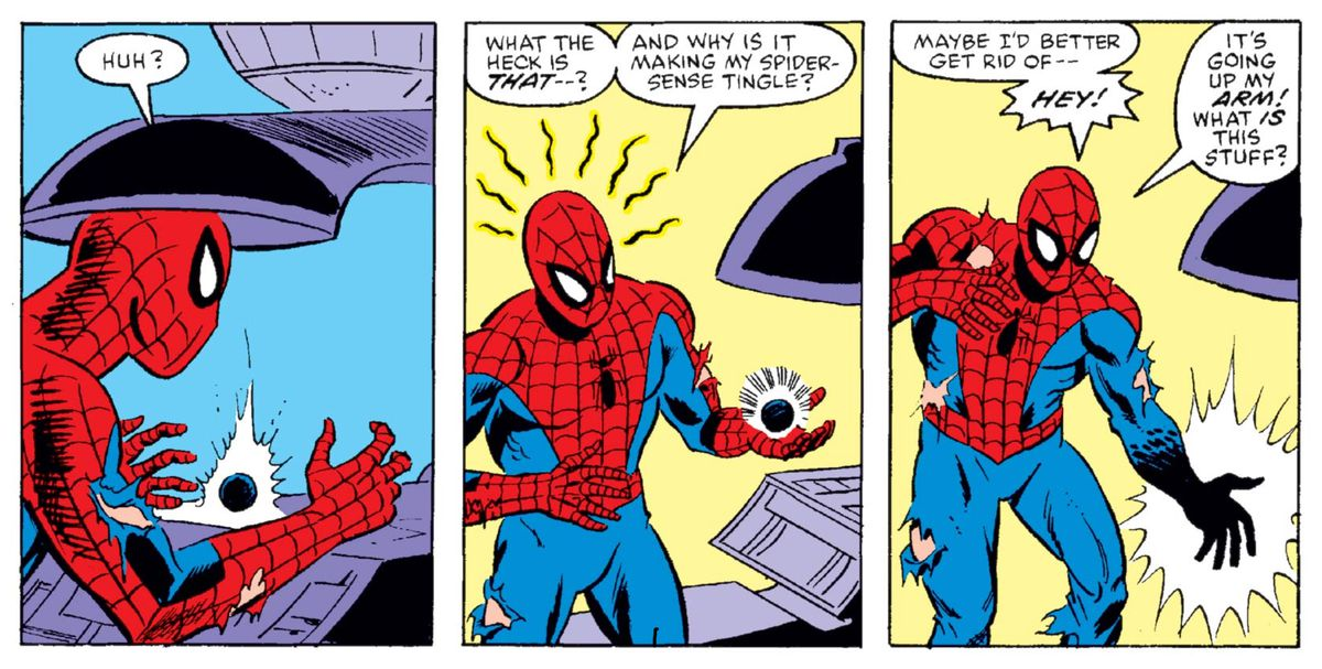 Spider-Man and the symbiote in Secret Wars #8, Marvel Comics (1984).