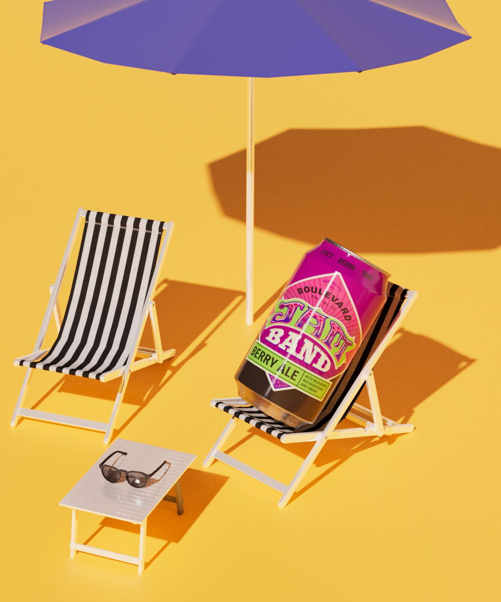 Boulevard Brewing Co.'s Jam Band Berry Ale staged on a miniature striped beach chair, under an purple umbrella on a yellow sunny background.