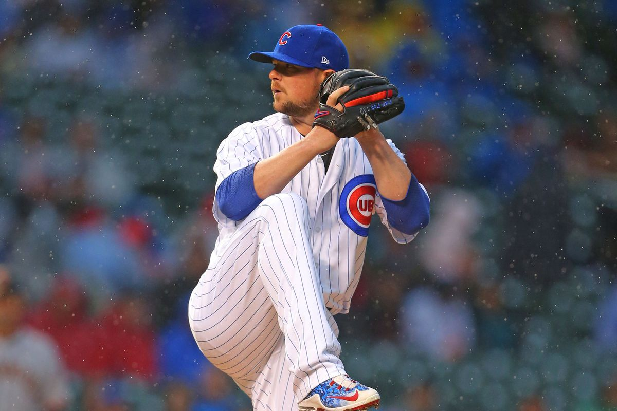 May 23, 2017; Chicago, IL, USA; Chicago Cubs starting pitcher Jon Lester (34) delivers a pitch during the first inning against the San Francisco Giants at Wrigley Field. Mandatory Credit: Dennis Wierzbicki-USA TODAY Sports
