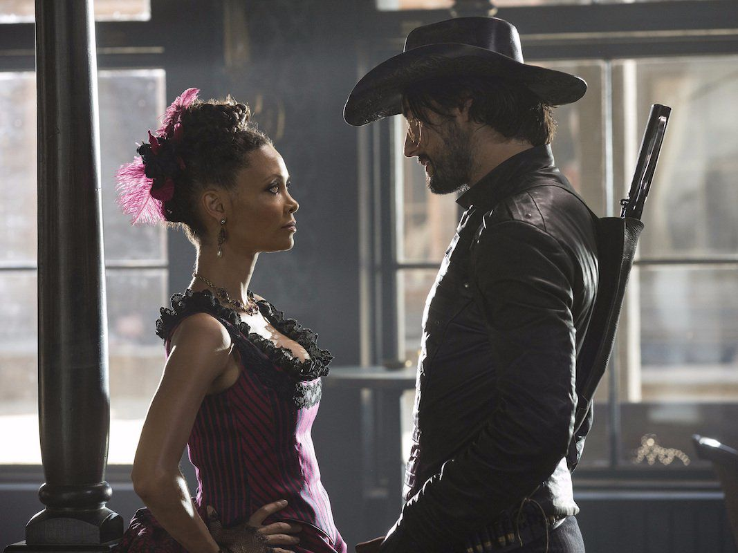 Two sex/murder bots look at each in Westworld